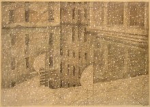 Paul Flora - 33. Venedig, Winter, Schneefall