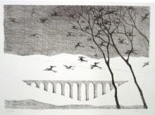 Paul Flora - Landschaft mit Vogelschwarm
