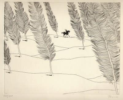 Flora Radierung Literarische Landschaft mit Pegasus