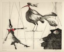 Paul Flora - Marionetten und Vogel