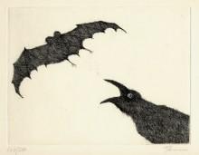 Paul Flora - Rabe und Fledermaus