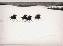Paul Flora - Vier Reiter im Schnee