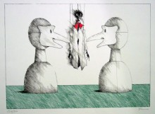 Paul Flora - Zwei Masken und Monsieur Corbeau