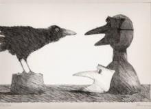 Paul Flora - Zwei Masken und ein Rabe