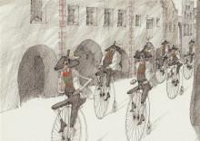 Paul Flora Alttyrolischer Hochradclub in der Glurnser Laubengasse
