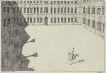 Paul Flora - Piazza mit Reiter