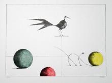Paul Flora - Drei Kugeln, Vogel und dünne Katze