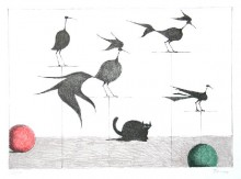 Paul Flora - Katze, Vögel und Kugeln