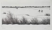 Paul Flora - Winterlandschaft mit zwei Jägern