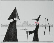Paul Flora - Monsieur Corbeau und eine Maske