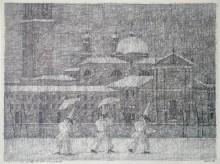 Paul Flora - 47. Venezianischer Winter mit drei Pulcinellen