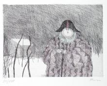 Paul Flora - Harlekin im Winter