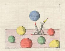 Paul Flora - 83. Pulcinell mit sieben Bällen