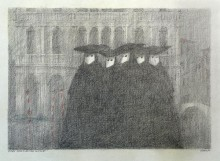 Paul Flora - 98. Fünf venezianische Masken
