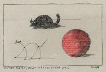 Paul Flora - 96. Dünne Katze, dicke Katze, roter Ball