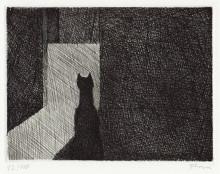 Paul Flora Die Katze vor dem Mäuseloch
