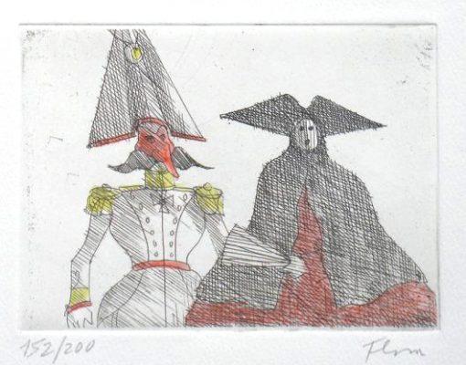 Paul Flora Radierung Carnevale