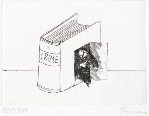 Paul Flora Radierung Crime