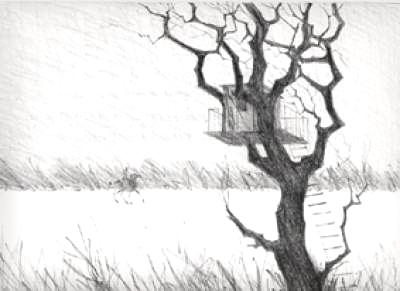 Paul Flora Lithographie Das Baumhaus