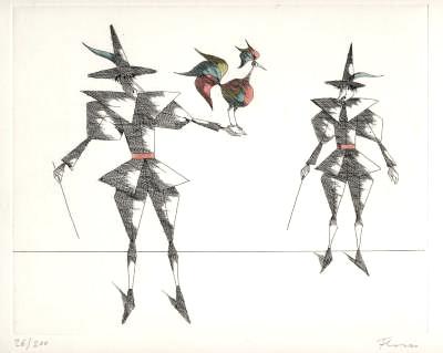 Paul Flora Radierung Der schöne Vogel