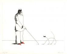 Paul Flora Radierung Die dünne Katze