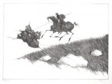 Paul Flora Lithographie Don Quichote besiegt eine Scheuche