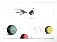 Paul Flora Lithographie Drei Kugeln, Vogel und dünne Katze