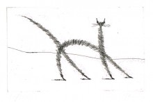 Paul Flora Radierung Dünne Katze
