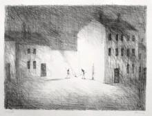 Paul Flora Lithographie Ein Feuer