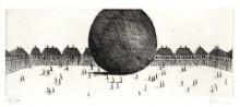 Paul Flora Radierung Große Kugel
