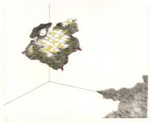 Paul Flora Radierung Harlekin, schwebend