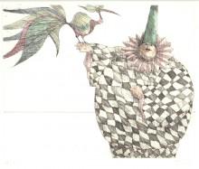 Paul Flora Radierung Harlekin und schöner Vogel