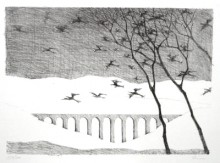 Paul Flora Lithographie Landschaft mit Vogelschwarm