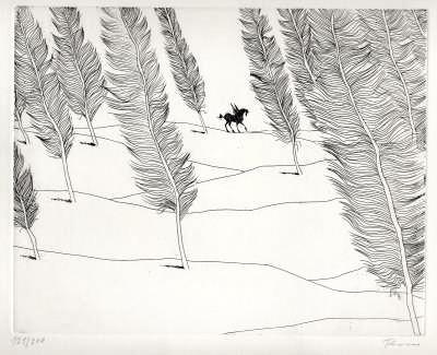 Paul Flora Radierung Literarische Landschaft mit Pegasus