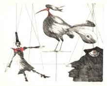 Paul Flora Radierung Marionetten und Vogel
