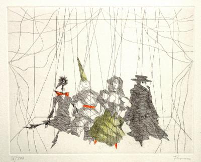 Paul Flora Radierung Marionettenquartett