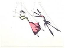 Paul Flora Radierung Marionettentanz