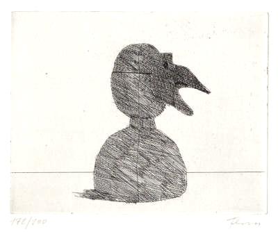 Paul Flora Radierung Maske