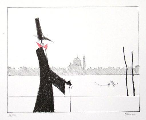 Paul Flora Lithograhie Monsieur Corbeau, elegant