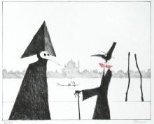 Paul Flora Lithographie Monsieur Corbeau und eine Maske