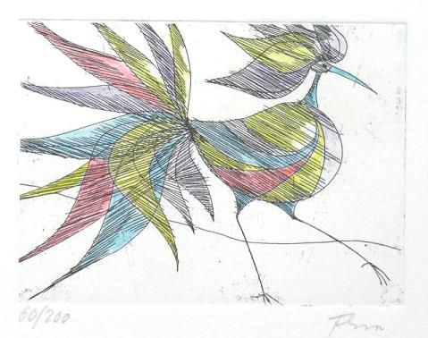 Paul Flora Radierung Schöner Vogel