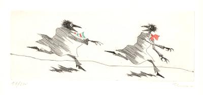 Paul Flora Radierung Signore Corvo jagt Monsieur Corbeau