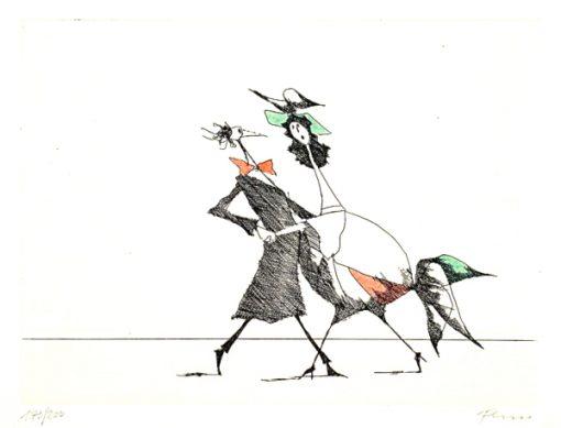 Paul Flora Radierung Tango