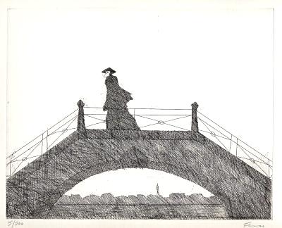 Paul Flora Radierung Venezianische Brücke