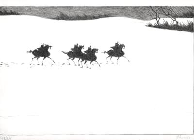 Paul Flora Lithographie Vier Reiter im Schnee