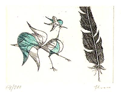 Paul Flora Radierung Vogel und Feder