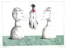 Paul Flora Lithographie Zwei Masken und Monsieur Corbeau