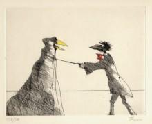 Paul Flora - Monsieur Corbeau und eine verhüllte Figur