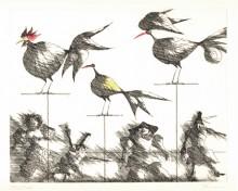Paul Flora - Drei Vögel und vier Marionetten
