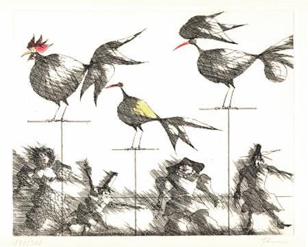 Paul Flora Puppen und Vögel